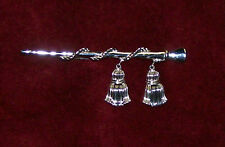 vtg 1950s silver Tone Crown Trifari Drum Major's Baton Rope Tassels Pin Brooch