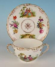Antique Dresden Hand Painted Portraits 2 Handled Bouillon Cup & Saucer Porcelain