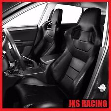 Recaro Race Seats Black Leather Reclinable Racing Seat Custom Universal Pair Set