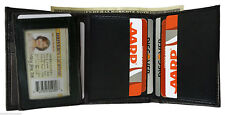 LAMBSKIN LEATHER BLACK MEN PLAIN TRIFOLD WALLET 9 Credit Card Flip Top ID Window