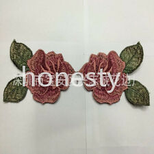 Two pink flowers Lace Embroidered Floral Neckline Neck Collar Sewing Applique