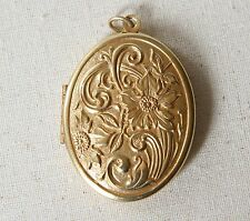 NWT Catherine Popesco Vintage Gold Flower French Locket Made in Paris