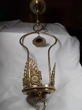Vintage Brass Hollow Tube Gas Pendant Fixture Electrified Good Condition! c1890s