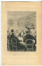 ANTIQUE DECORATED MILITARY MEN GENERAL HERALDRY FLAGS CANDEL LIGHT DINNER PRINT