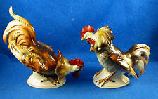 A Pair of Porcelain Fighting Roosters-Origin Unknown-Great Condition -Estate ISW