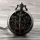 Black Magic Wand Quartz Pocket Watch Necklace Pendant Chain New Women Gift P288