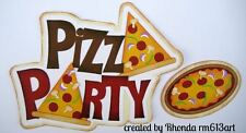 Pizza Party boy girl paper piecing title premade scrapbook page Rhonda rm613art