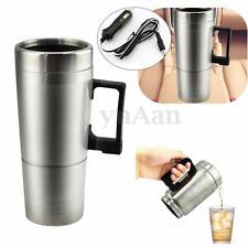 STAINLESS 12V Car Travel Milk Tea Coffee Water Bottle Cup Kettle Warmer Heater
