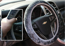 Soft Short Plush Winter Car Steering Wheel Cover Vehicle Grips Skin Grey