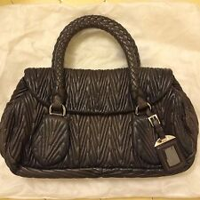 Prada Antik Ruched Satchel Pleated Gaufre Steely Gray/Taupe Braided Handles