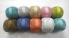 SET LOT of 10 Cotton Lurex Jari Yarn Thread - Crochet Lace Knitting Embroidery