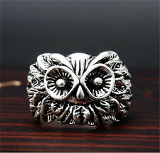 Men's Exaggerated owl Retro Punk Stainless Steel Silver Ring Personality Size-9