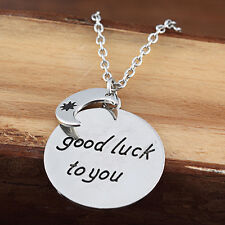 "Silver Plt ""Good Luck To You"" Best Wishes Pendant Necklace Party Birthday Gift"