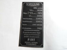 Nameplate FIAT Shield Greasing id-plate 508 509 Topolino S6