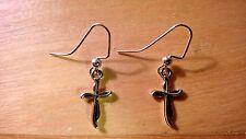 """Easter cross earrings Silver (Nickel free) 1 1/4"""" dangle hooks"""