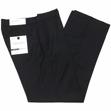 New CALVIN KLEIN Mens 32 Relax Solid Black Flat Front Poly/Rayon Pants/Trousers