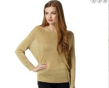 MATTHEW WILLIAMSON gold metallic glittering jumper size 10 new £45