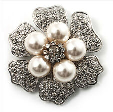 Vintage Style Silver Ivory White Pearls Flower Bridal Wedding Brooch Pin BR247