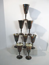 Wine Goblets Silver Plate Platos Spain Gothic Grape Set of 8 Water Glasses