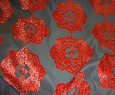 Atomic  Burn Out Floral Velvet Upholstery and Drapery home fabric per yard