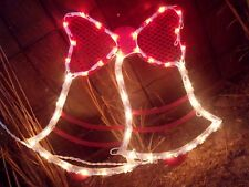 CHRISTMAS OUTDOOR LIGHTED DOUBLE BELL GIFT BOW SIGN WINDOW YARD LIGHT DECORATION