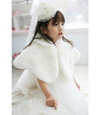 Kids Girls Faux Fur Cape Coat Bridesmaid Tippet Bolero Wrap Shrug Party Wedding