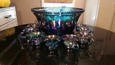 Rare Anitque Blue Glass Rainbow Iridescent Punch Bowl and 12 Cups