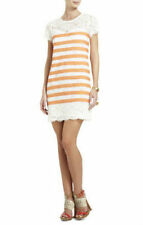 NEW BCBG MAX AZRIA ROXINE LACE WITH CONTRAST STRIPES DRESS NEQ6W050/M232 SIZE XS