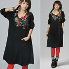 Black Women Vintage Mexican Floral Embroidered Long Sleeve Boho Gypsy Chic Dress
