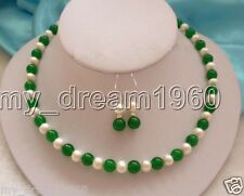 HANDMADE NATURAL 7-8MM REAL WHITE PEARL & GREEN JADE BEADS NECKLACE EARRINGS SET