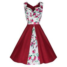 New Lindy Bop Retro Red Floral Avis Pinup Swing Dress White 6 Small Vintage Cute
