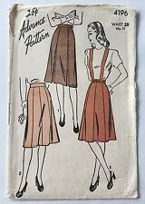 40s Skirt Pleated Gored 4 or 8 Panel Advance Sewing Pattern 4196 Waist 28 VTG