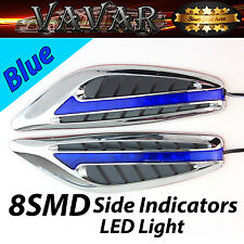 Pair Blue 8 LED Auto Side Indicators turn Signal Panels lights Car Styling