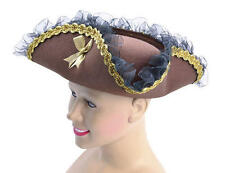 Ladies Pirates Of The Caribbean Brown Tricorn Hat Captain Fancy Dress