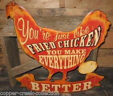 Fried CHICKEN Metal Wall SIGN~Primitive/Southern/French Country Kitchen Decor