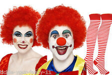 Unisex Red Clown Kit Wig Make Up Nose Socks Fancy Dress Costume Circus Funny Fun