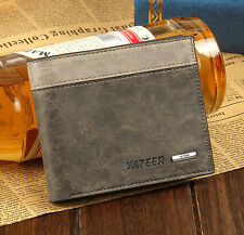 Grey Men's Leather Business Credit Card Wallet ID Holder Clutch Pockets Purse