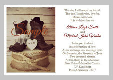 100 Personalized Custom Western Cowboy Boots Heart Wedding Invitations Set Seals