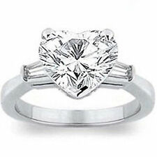 2.40 carat total Heart Shape DIAMOND Engagement Solitaire Ring with 2 baguettes