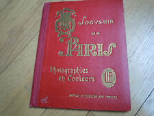1920's Book SOUVENIR DE PARIS - PHOTOGRAPHIES EN COULEURS 15 Color Drawings