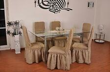 4 Stuhlhusse Stretch Universal Stuhlüberzug Hussen Spannbezug camel elfenbein