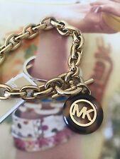 NWT Michael Kors Fulton Gold Tone MK Logo Chain Links Toggle Bracelet MKJ5346