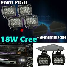"Ford F150 SVT Raptor 4PC CREE 18W 4"" LED Flood Beam Fog Light + Bumper Bracket"