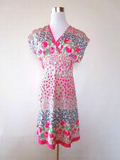 Womens Vtg Retro 80s Blogger Casual Summer Floral V Neck Pink Dress sz M AT89