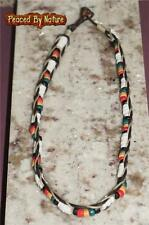 Rasta Reggae color wood w/HEMP Puka Shell Beads Puca Necklace