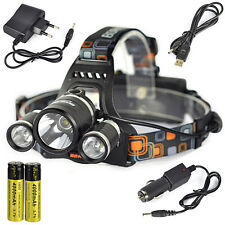 BORUIT 11000Lm 3X XM-L T6+2R5 LED Headlamp Head Light Torch 2X 18650+3X Charger