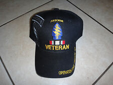 US Special Forces Airborne OPERATION IRAQI FREEDOM VET Black Hat W/ Velcro Back