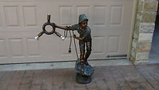 VINTAGE LARGE BRONZE FIGURAL STATUE OF A FISHERMAN THROWING A LIFE-BUOY W/LIGHTS