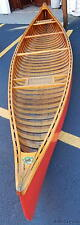 Beautiful Vintage Oak Wooden Canoe 16ft CHESTNUT CRUISER Caned Seats 3 Oars 1930