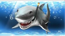 "Shark Smiling / Sun Rays 30""x 60"" Beach Towel"